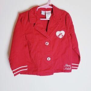 Disney little mermaid red sailor canvas jacket 5t